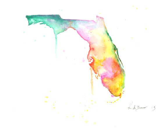 Watercolor Florida Map.Florida Map Horizontal Print Print Of Watercolor Illustration