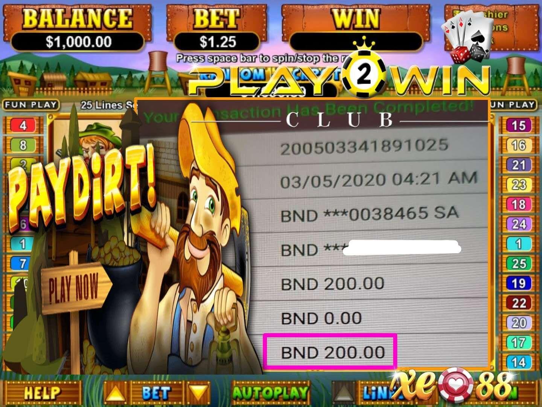 PAYDIRT XE88 Online Casino BigWin Jackpot | P2W-Club.com