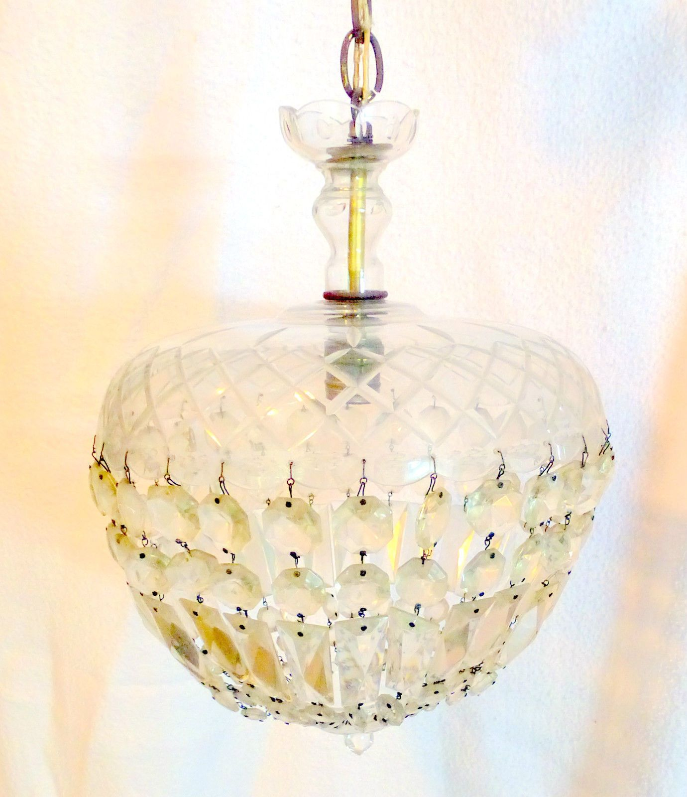 Ceiling light fixture basket chandelier crystal prisms acorn shape ceiling light fixture basket chandelier crystal prisms acorn shape vtg 1940 60 arubaitofo Images