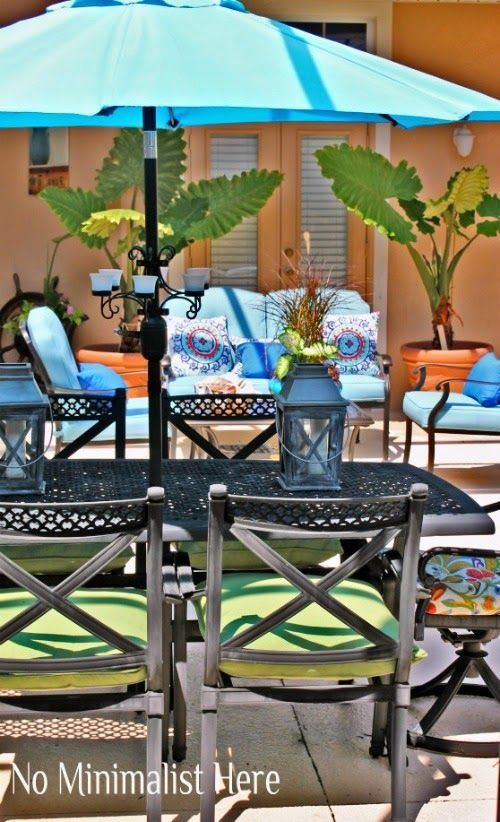 Our Courtyard Decorated For Spring. No Minimalist Here: Share Your Style  Spring Blog Hop