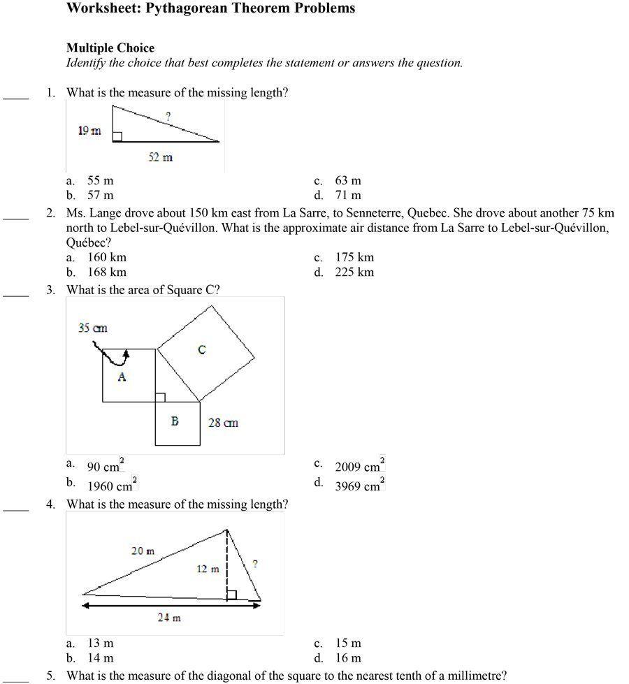 Download Pythagorean Theorem 13 Pythagorean Theorem Theorems Pythagorean Theorem Worksheet