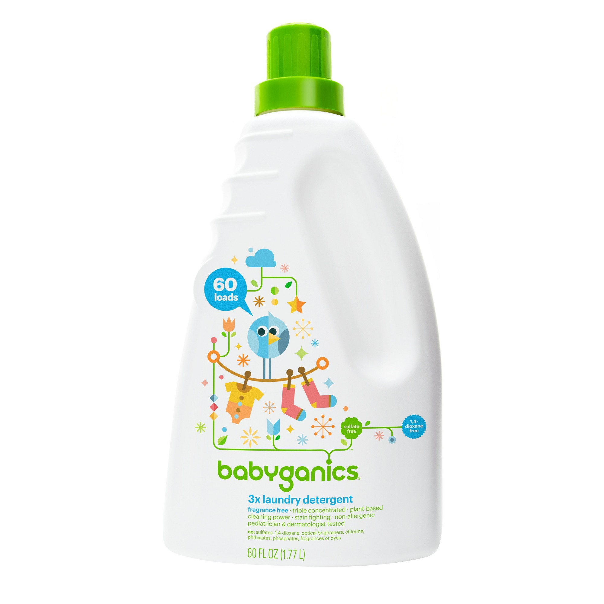 Babyganics 3x Laundry Detergent Fragrance Free 60oz With