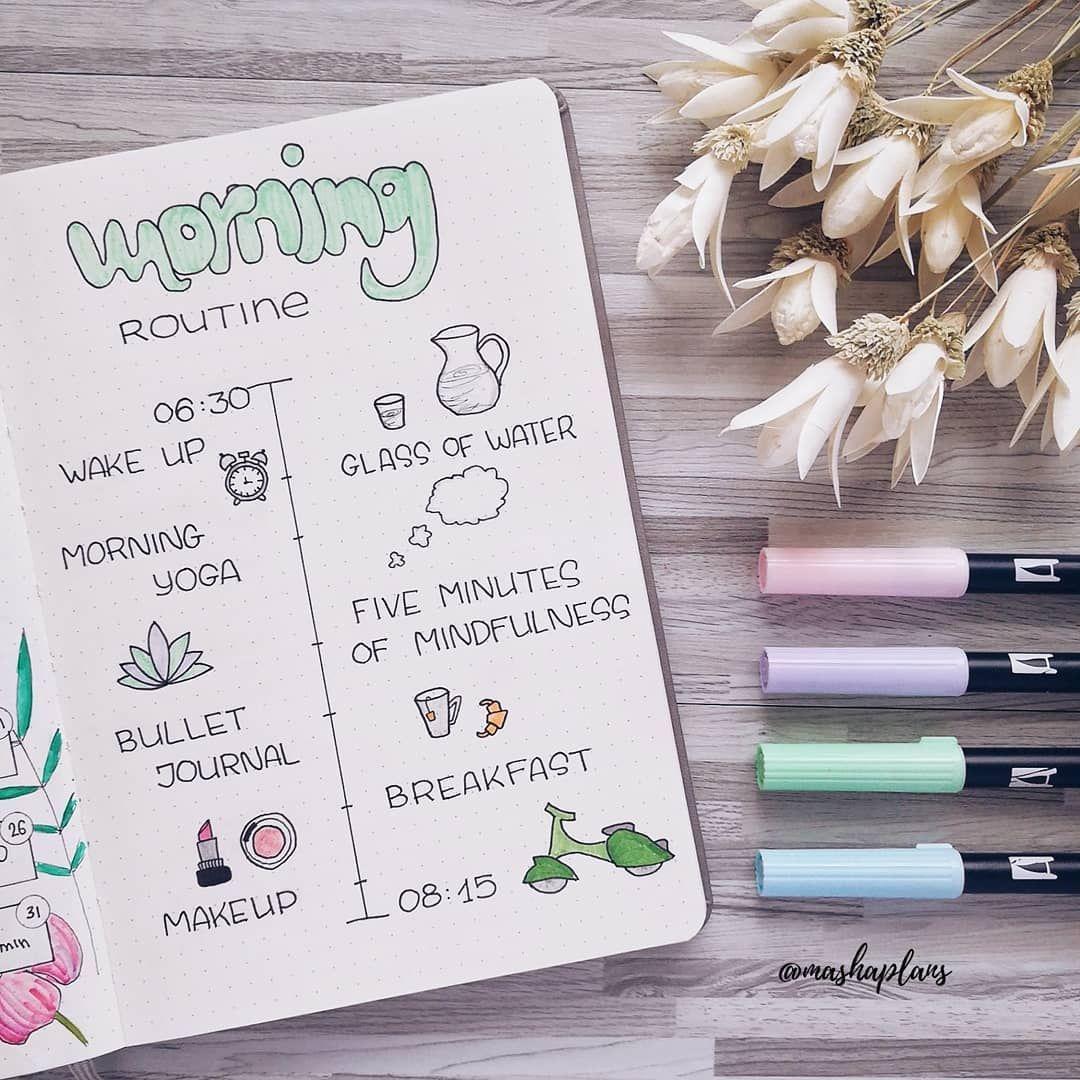 Masha (@mashaplans) my morning routine challenge / выработка привычки утренней рутины #bulletjournal #productivity #morningroutine #ежедневник #утренняярутина #буллетджорнал #планер #routine