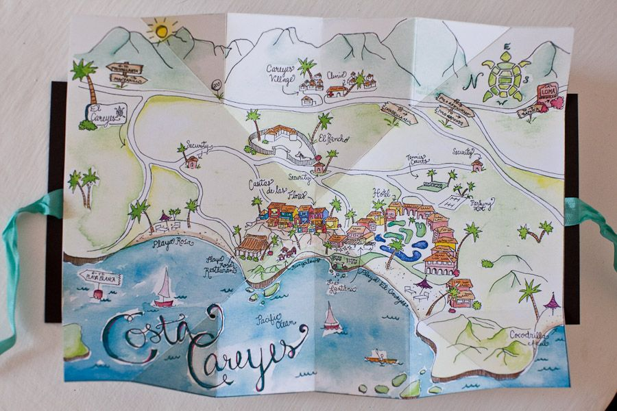 Careyes Mexico Map.Love The Wedding Details Hand Drawn Map For The Guests Costa