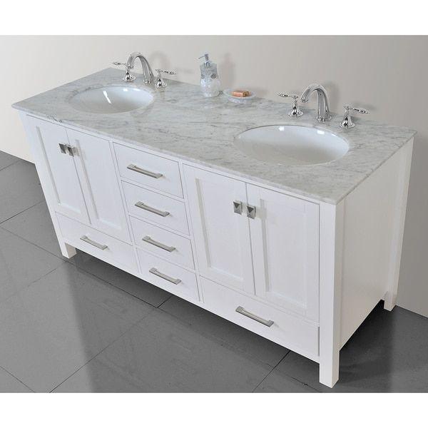 60inch malibu pure white double sink bathroom vanity with carrara marble top