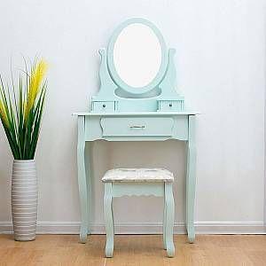 MERIDEN FURNITURE CherryTree Furniture DUCK EGG Dressing Table 3-Drawer Makeup Dresser Set with