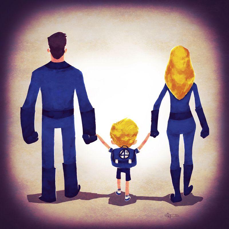 Marvel Superhero Families Take Their Kids Back To School Superhero Family Marvel And Dc Superheroes Superhero Art