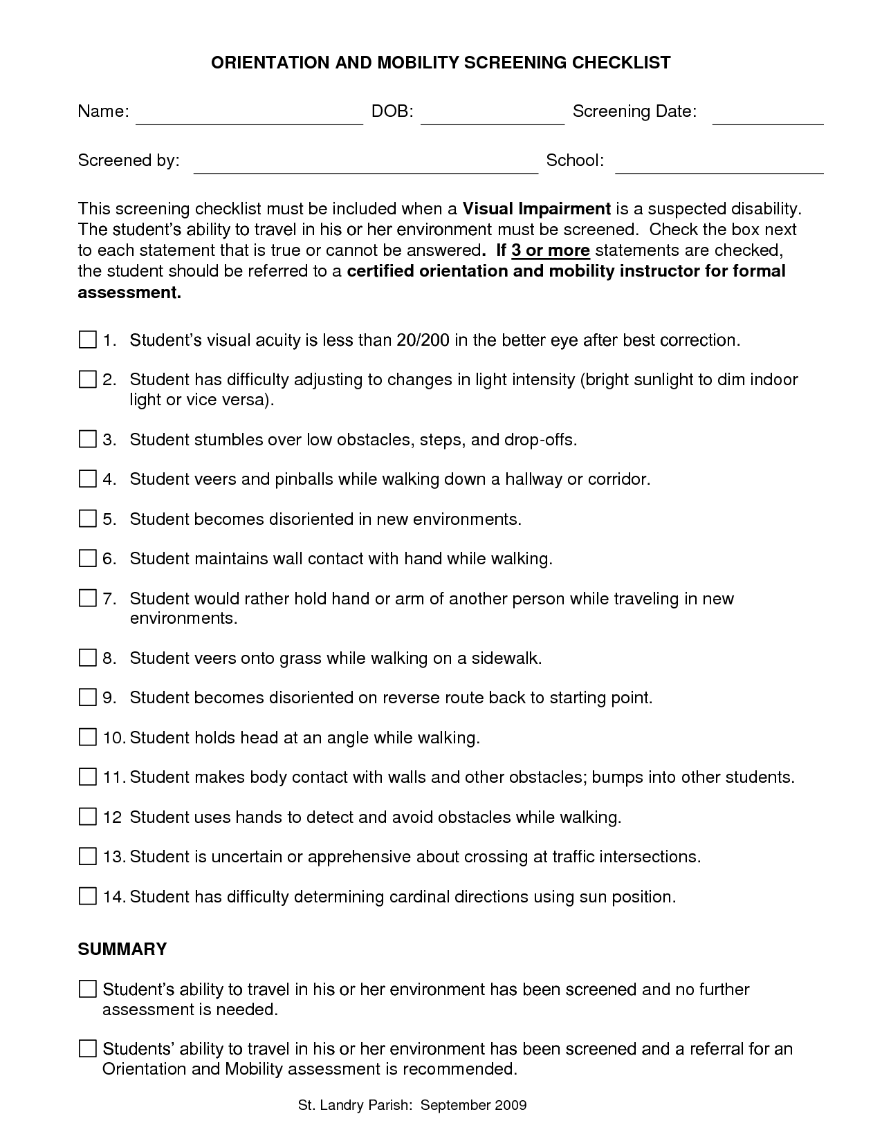 Orientation And Mobility Assessment Checklist