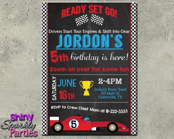 Race Car Birthday Invitation Party Planning Pinterest Cars