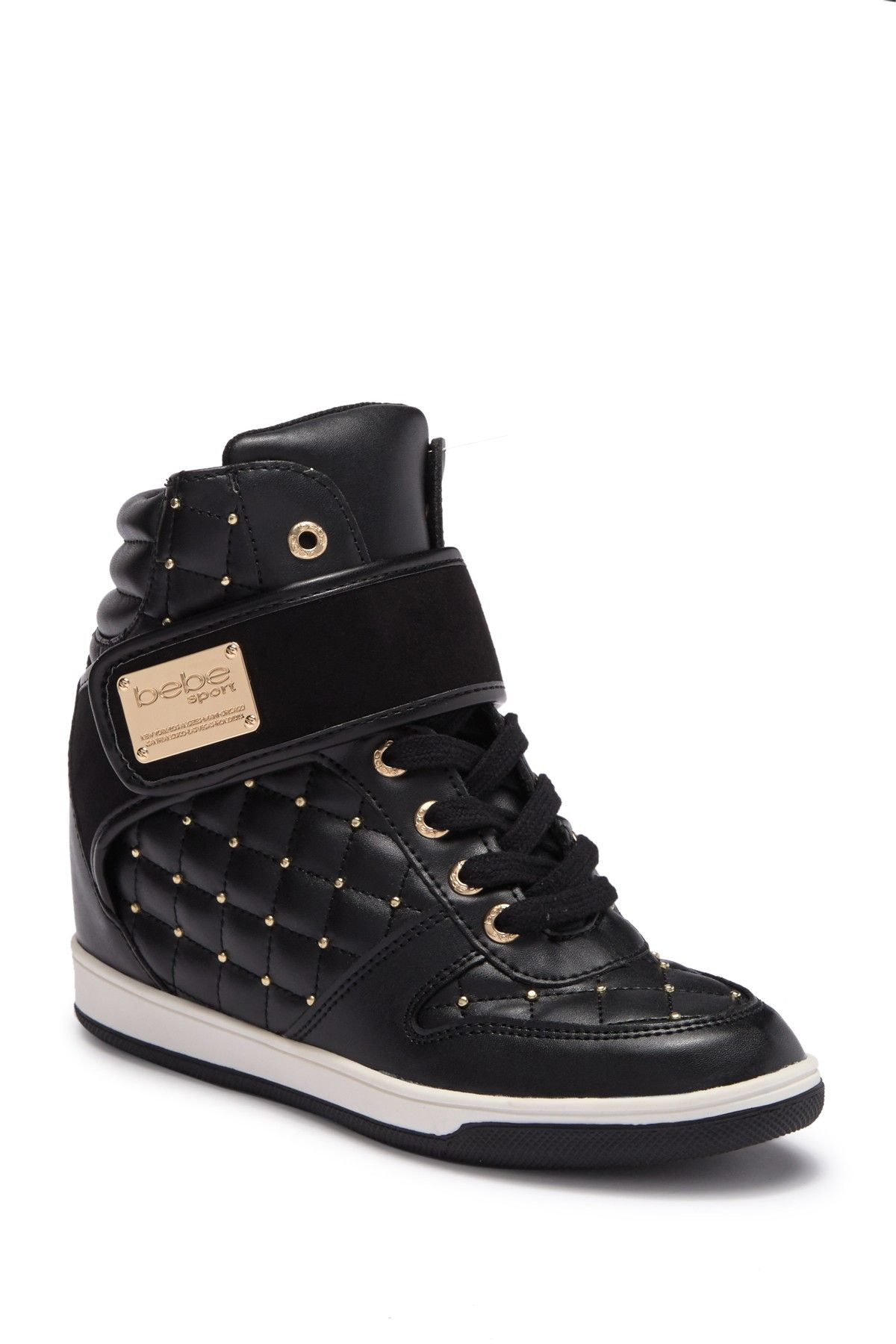 8a42203ffe2 Studded Hi-Top Wedge Sneaker by bebe on @nordstrom_rack, Size 6, 6.5, 7,  7.5. 8, 8.5 10 available only.