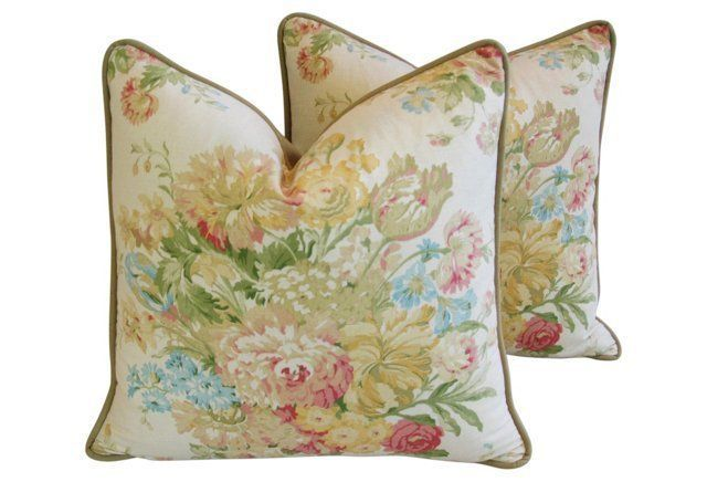 laura ashley/kravet fabric Portfolio Pastel  Floral Pillows,  Pair