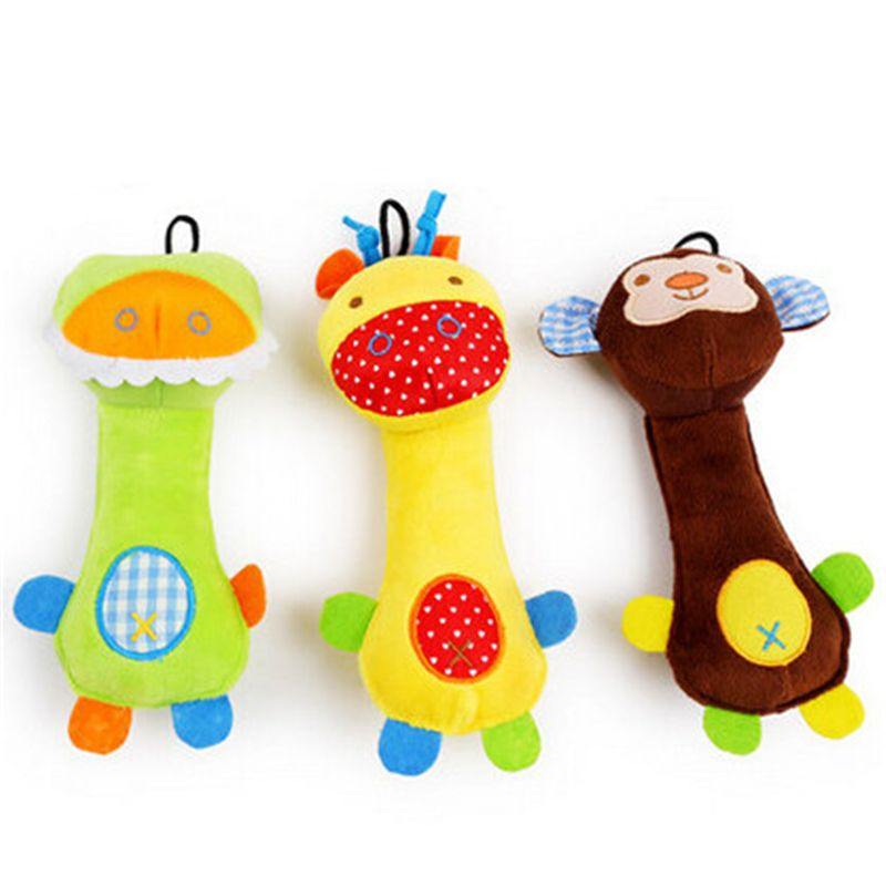 Cartoon Plush Dog Toys Puppy Chew Squeaker Sound Pet Training