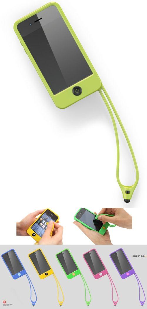 带挂绳和手写笔的iphone硅胶手机套 iphone iphone cases phone