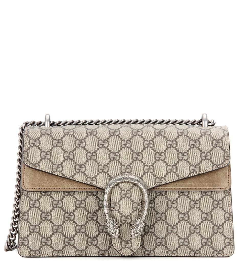 Dionysus Gg Supreme Small Beige Canvas And Suede Shoulder