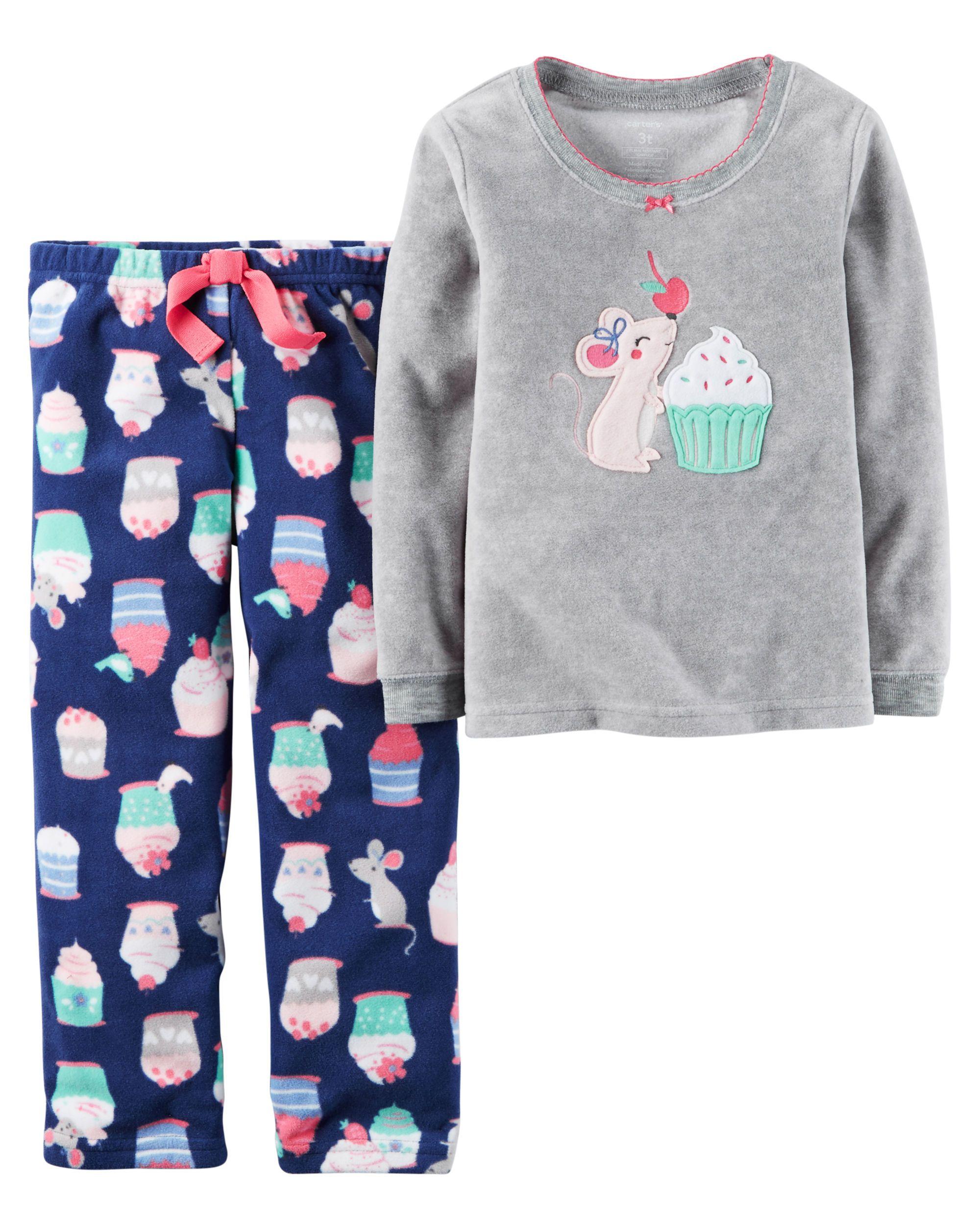 7891794a8 Baby Girl 2-Piece Cotton   Fleece PJs