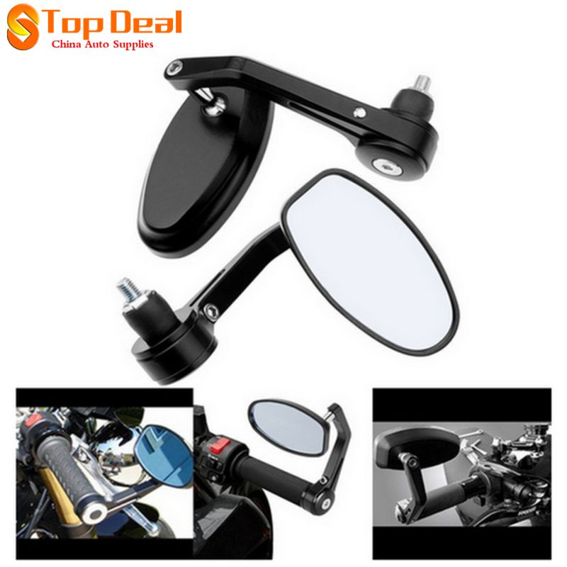 """7//8/"""" Aluminum Rear View Side Mirror Handle Bar End Oval Black For Motorcycle CA"""