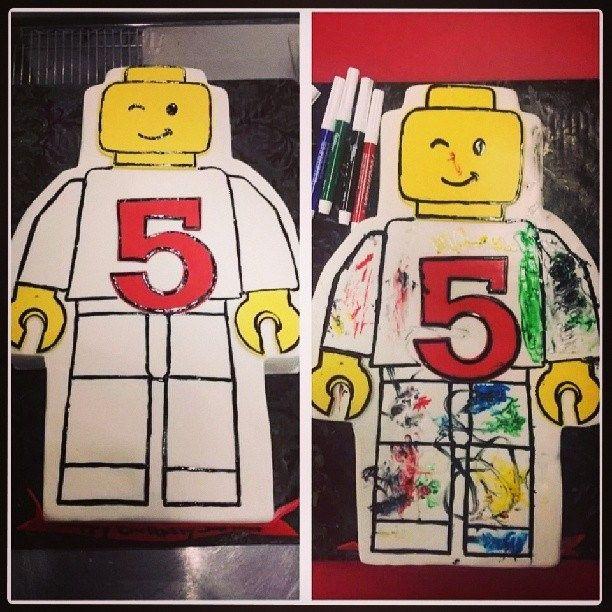 Lego Man Coloring cake!   Lego man, Blue cakes, Cake