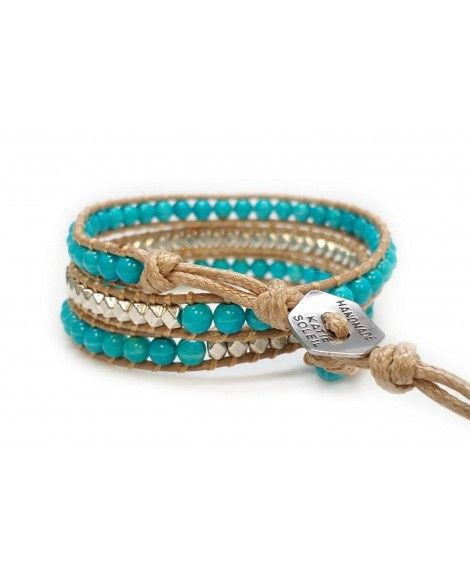 Women S Beaded Wrap Bracelet Turquoise Beads And Silver