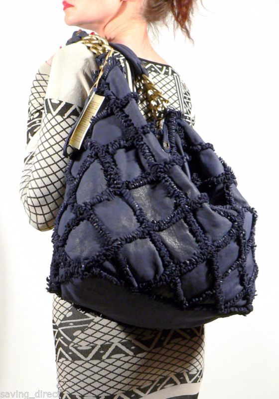 252a4aa143c Errelleventidue Italy RL22 Embellished Washed Navy Blue Calf Leather Tote  Bag
