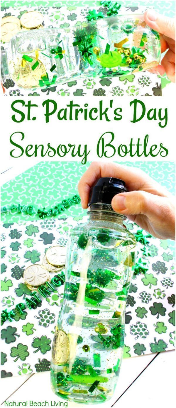Easy St. Patrick's Day Sensory Bottles - DIY Sensory Activities #sensorybottles How to Make St. Patrick's Day Sensory Bottles, Easy Sensory Bottles for Kids, These DIY sensory bottles for preschool are an easy sensory play idea, Science Bottles, Discovery Bottles, Easy Glitter sensory bottles ingredients for your Science Table, St. Patrick's Day Activity, STEM, St. Patrick's Day Preschool Theme, Sensory Activities #sensoryplay #stpatricksday #sensorybottles #sensorybottles Easy St. Patrick's Da #sensorybottles