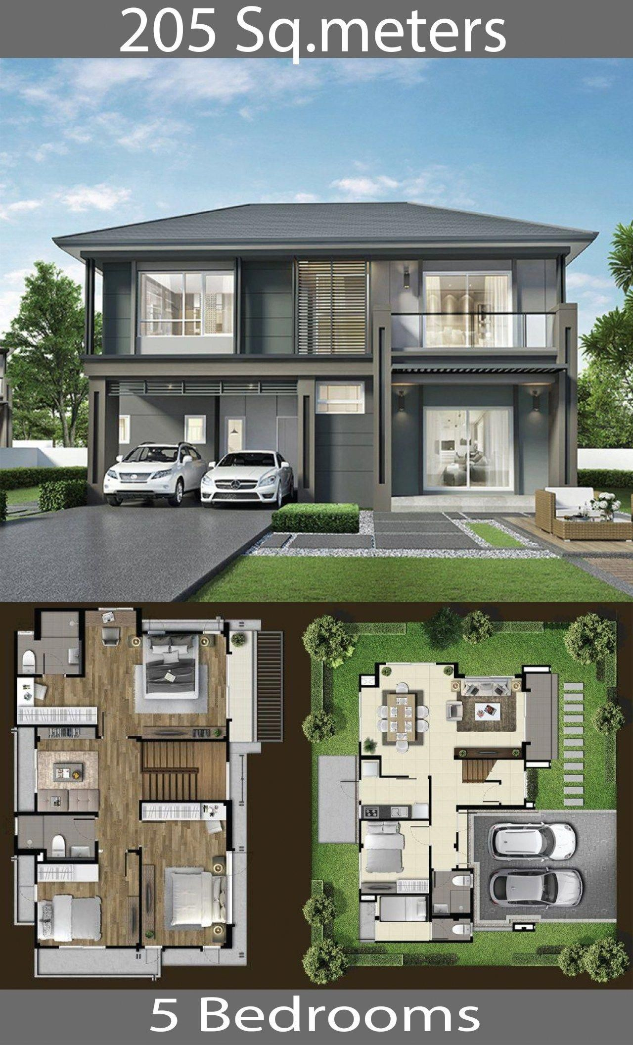 205 Sq M House Ideas With 5 Bedrooms Home Ideas Besthomeinteriors Double Storey House Plans Town House Floor Plan Double Storey House