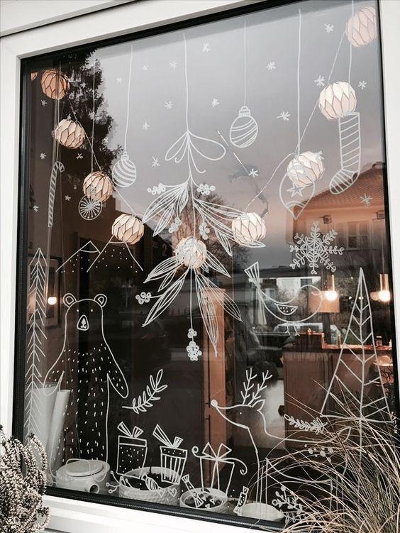 j'aime dessiner sur les vitres #posca #feutresvitres #dessinersurlesvitres #illustrationsnoel #noel #decorerlesvitres #dessinsurvitrine #seasonsoftheyear