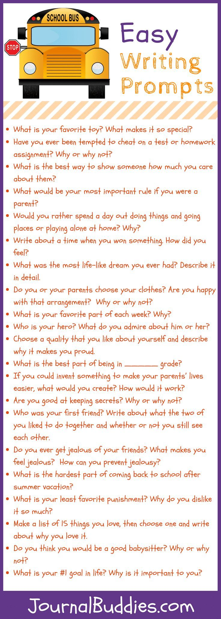 Easy Writing Prompts For Elementary Kids Fun Things To Do With