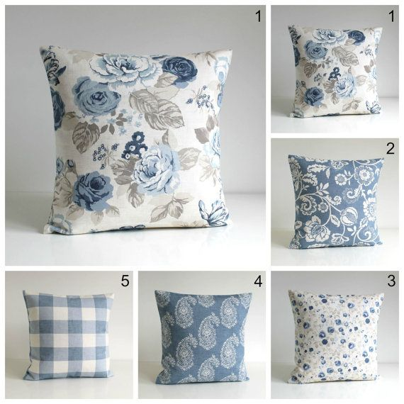 10x10 Inch Blue Pillow Cover Cotton Pillow Cover Throw Etsy Blue Pillow Covers Pillow Covers Floral Cushion Covers