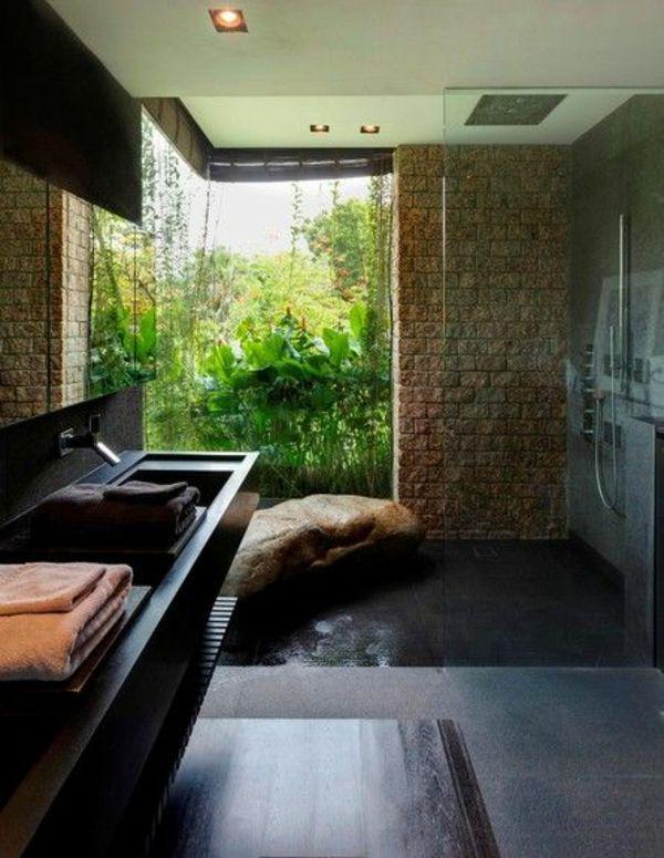 Modernes Badezimmer Ideen Wände Naturstein
