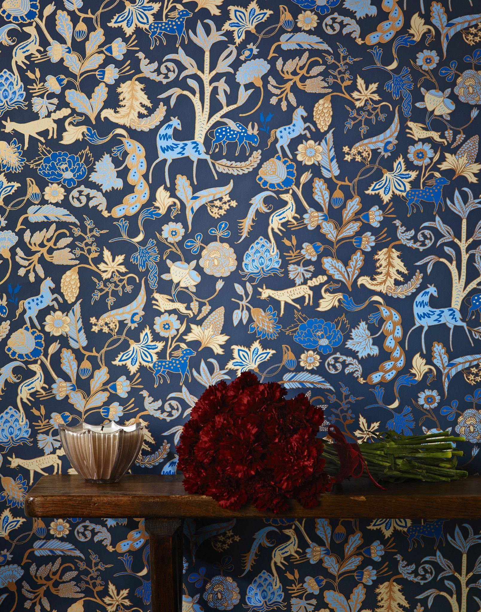 Foret (Midnight) | For the Home | Home Decor, Navy wallpaper, Modern wallpaper