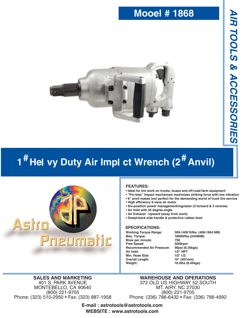 """1"""" Heavy Duty Air Impact Wrench with 2"""" Anvil (With images"""