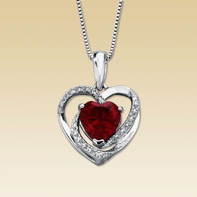 Silver Ruby Heart Necklace, Toly Gives To Darrell For Her Birthday.  (Hungarian Ruby