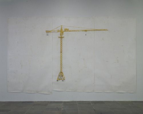 Toba Khedoori Untitled, 1994. Wax, oil, ink, and graphite on three sheets of paper, 135 1/4 × 220 1/2 in. (343.5 × 560.1 cm) overall. Whitney Museum of American Art, New York.