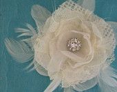 Ivory Organza, Tulle and Lace Feather Rose bobby pin Set A273 - bridal hair accessory. $37.99, via Etsy.