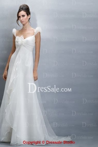 Delightful Empire Organza Cheap Wedding Dress Features Cute Capped ...