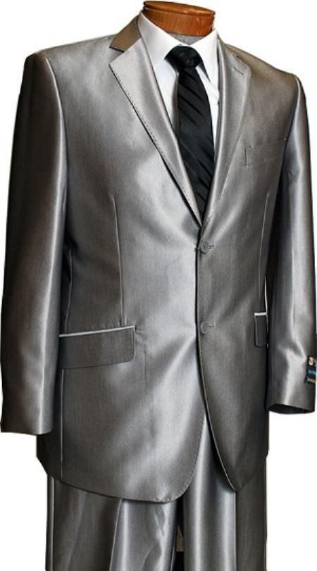 silver suit | ... Silver Slim Fit Shark Skin Suit $169 Mens ...