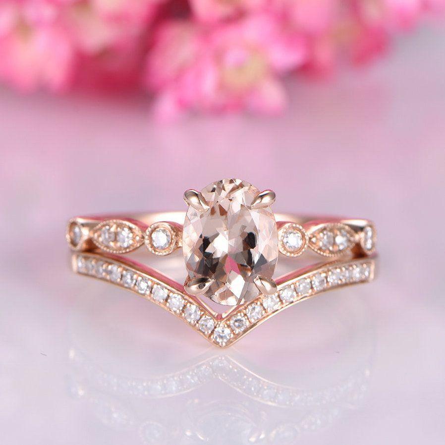 Morganite ring set rose gold morganite engagement ring 6x8mm oval ...