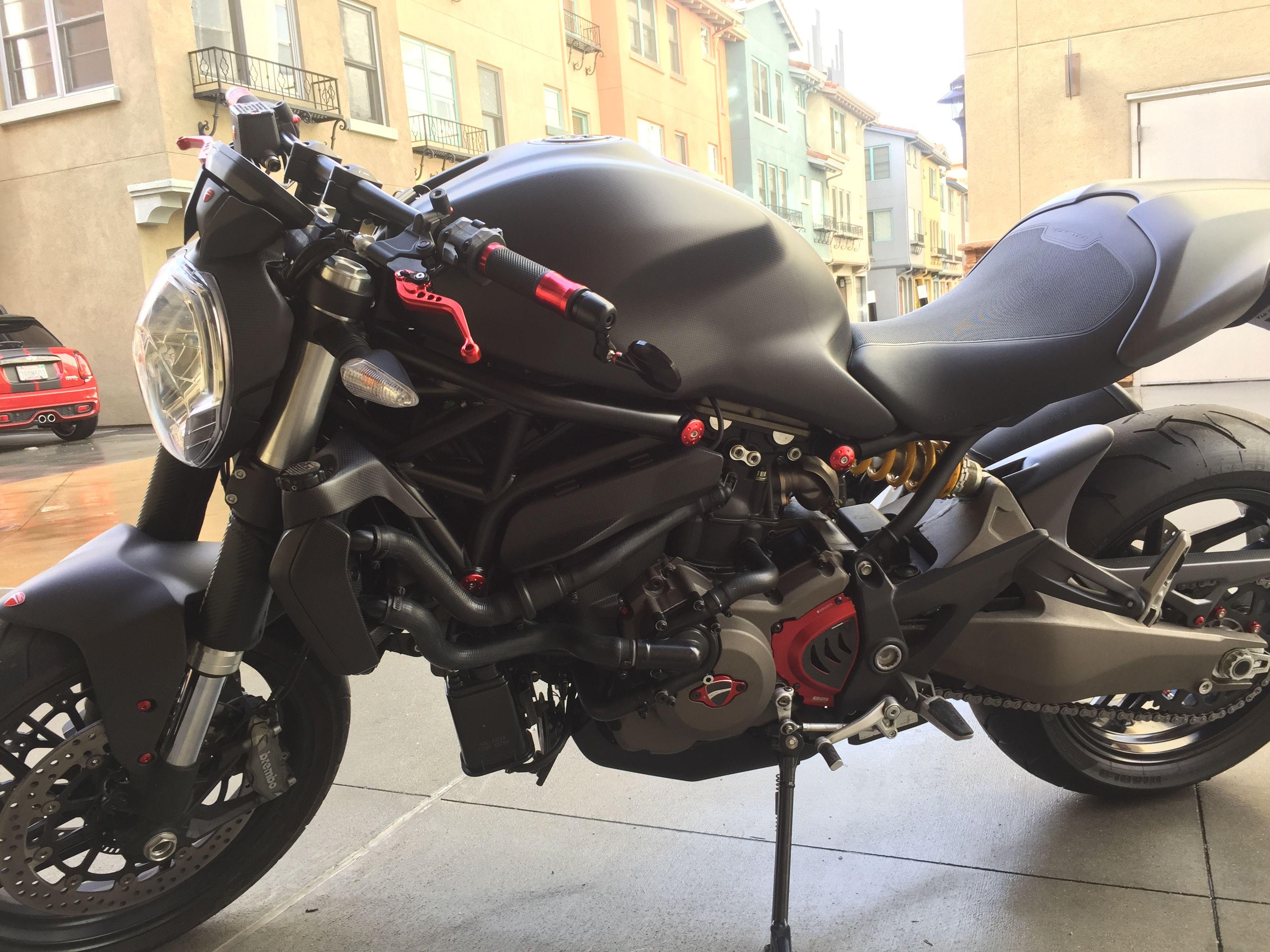 Left Side 2015 Ducati Monster 821 Dark Full Carbon Fiber Loaded Red