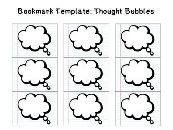 Bookmark Template Thought Bubbles  School    Bookmark