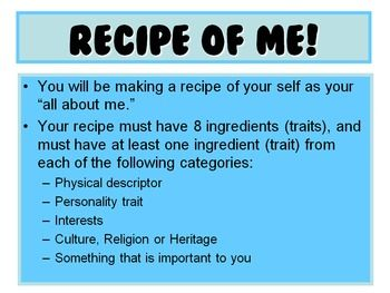 Culinary Class Introduction Activity- Recipe of Me