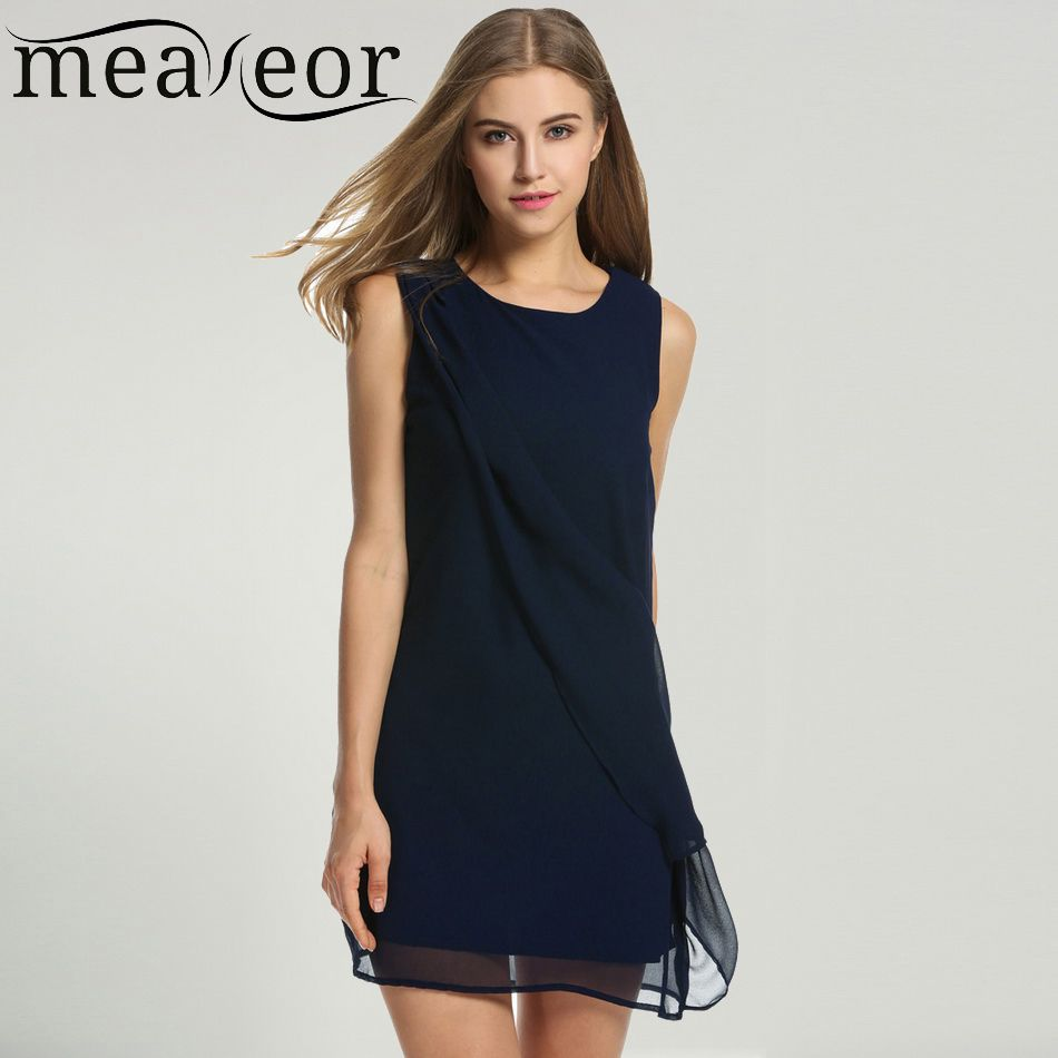 add7fab612 Meaneor Women s Chiffon Dress Summer Autumn Casual Straight O-neck  Sleeveless solid A-Line