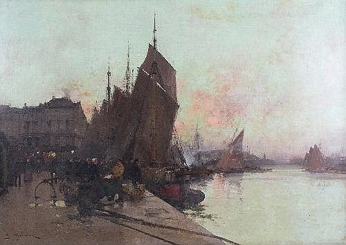 Estimated Price: £6,000 - £9,000 Description: Eugéne Galien-Laloue (1854-1941) 'Unloading Fish, Sunrise Dieppe,' 'Criee au Crepuscule a Diep...