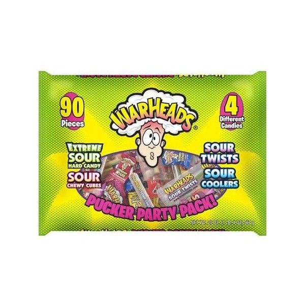 Warheads Pucker Party Pack Assorted Sour Candy 90 Count 20 Oz Liked On Polyvore Featuring Food Party Packs Sour Candy Party