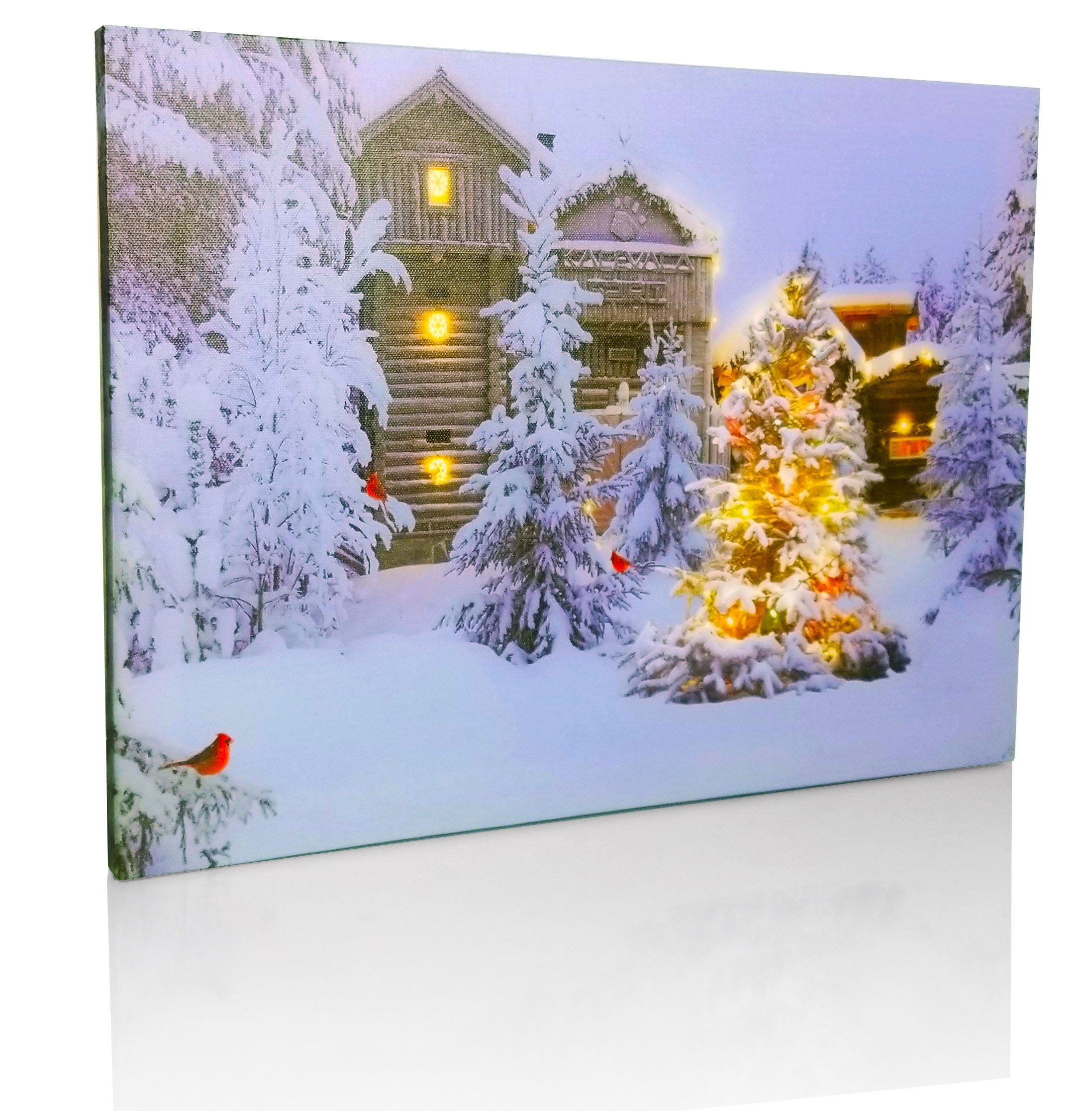 Fibre Optic LED Light Up Christmas Winter Scene Canvas Print Wall Art Hanging