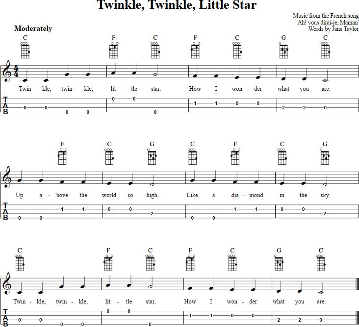 Twinkle, Twinkle, Little Star Ukulele Tab