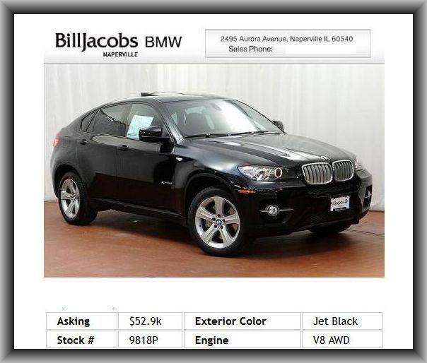 2011 BMW X6 XDrive50i SUV Rear View Camera W Top Automatic Dimming Mirror Manual Side Window Sunshades 1 Owner Special Financing Of
