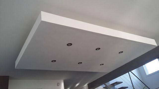 D roch plafond descendu suspendu ilot central for Placo platre moderne