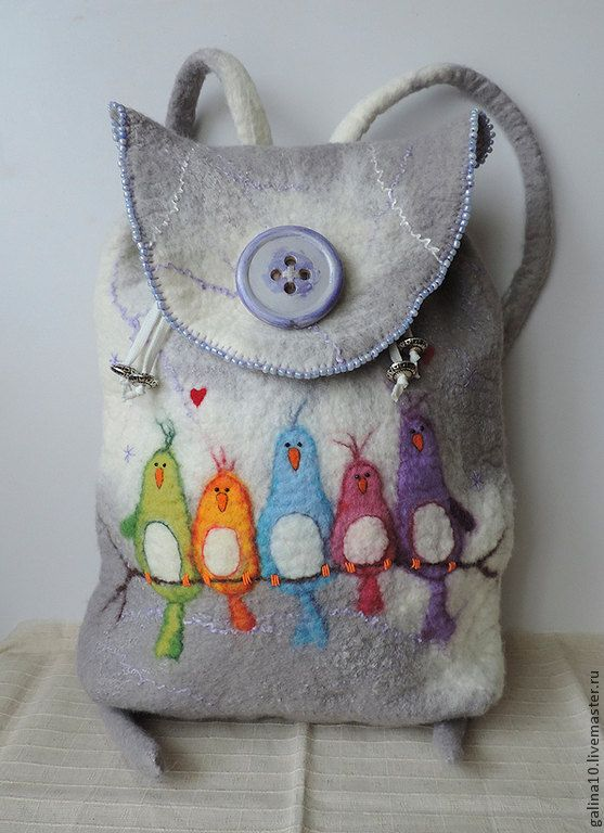 Wool backpack with birds, Felted backpack