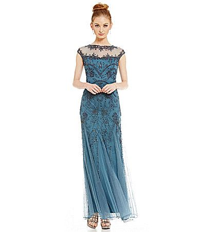 577d0045a9c Pisarro Nights Petite Beaded Illusion Neck Gown  Dillards