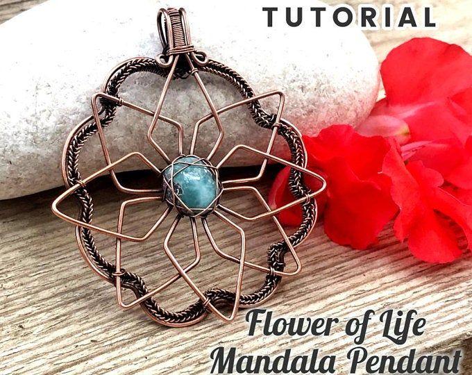 "Photo of TUTORIAL ""Blume des Lebens Mandala"" Anhänger PDF-Muster, Drahtwickel Webart Schmuck, ca …"
